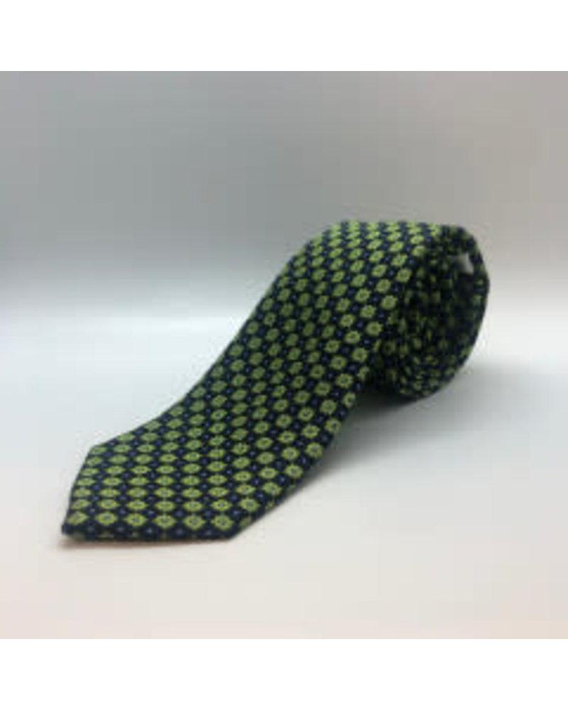 Mini Dot Floral Tie Lime Green