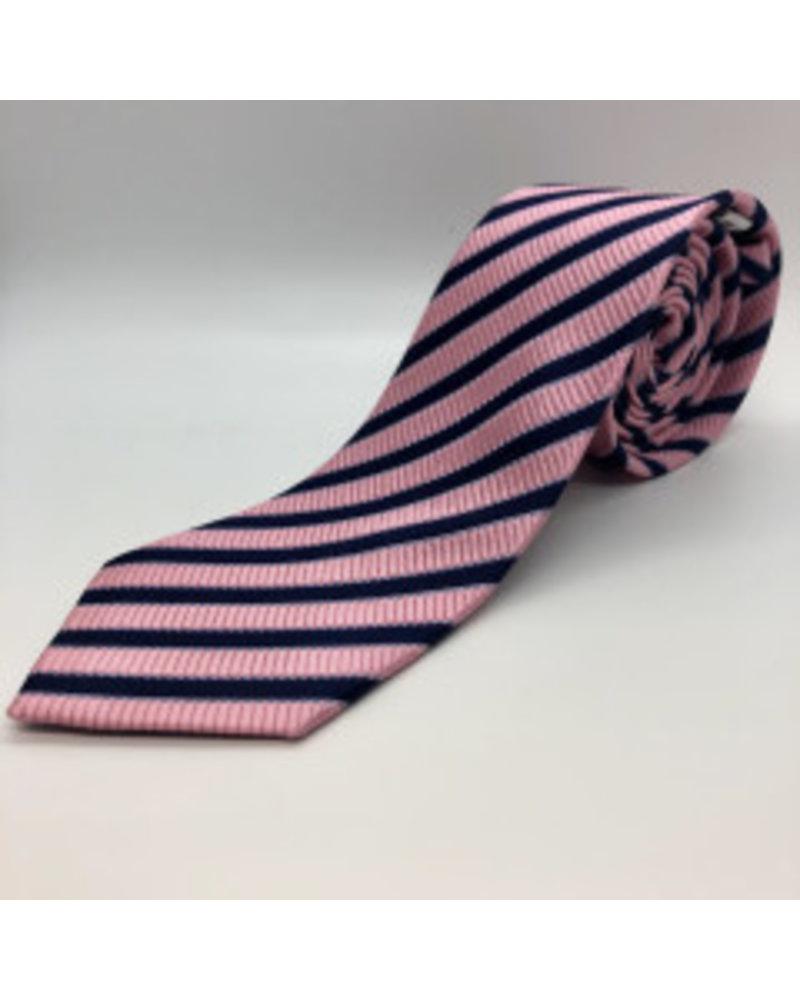 Navy Ivy Stripe Tie Pink