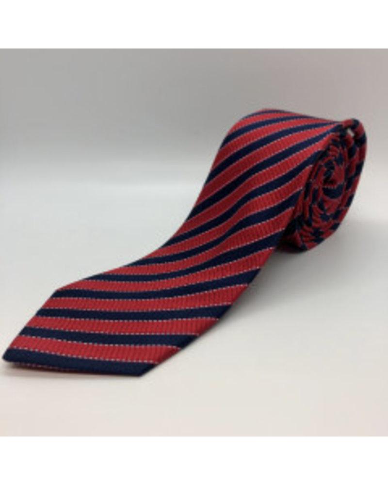 Navy Ivy Stripe Tie Red