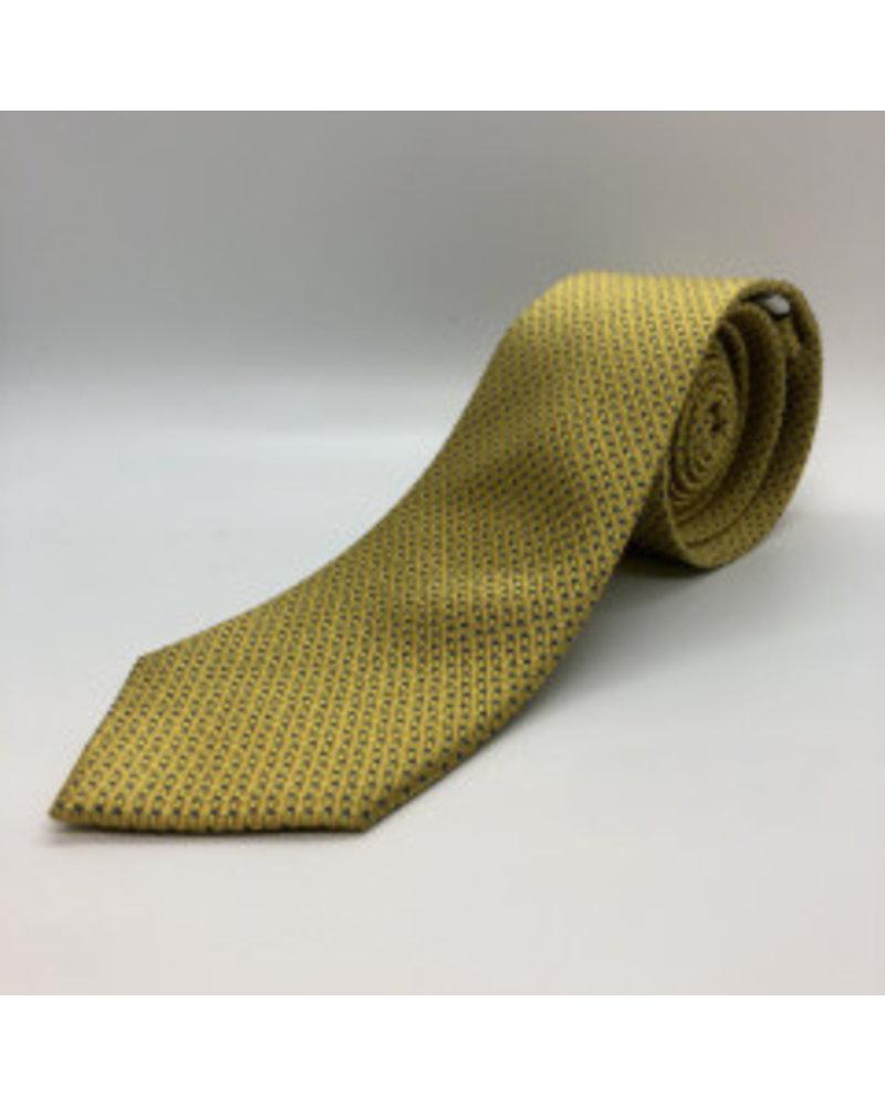 Navy Micro Rectangle Tie Yellow