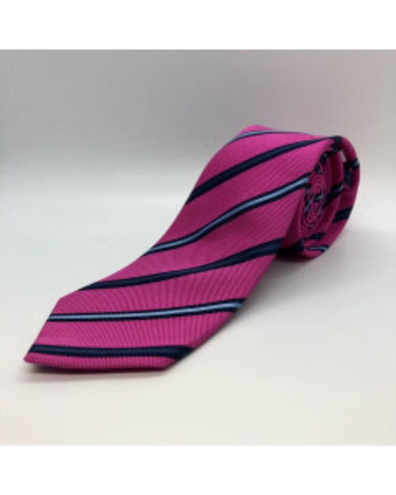 Navy Stripe Tie Fuchsia