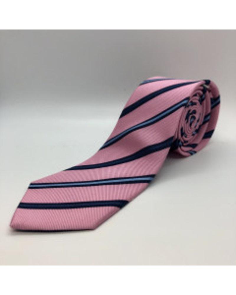 Navy Stripe Tie Pink