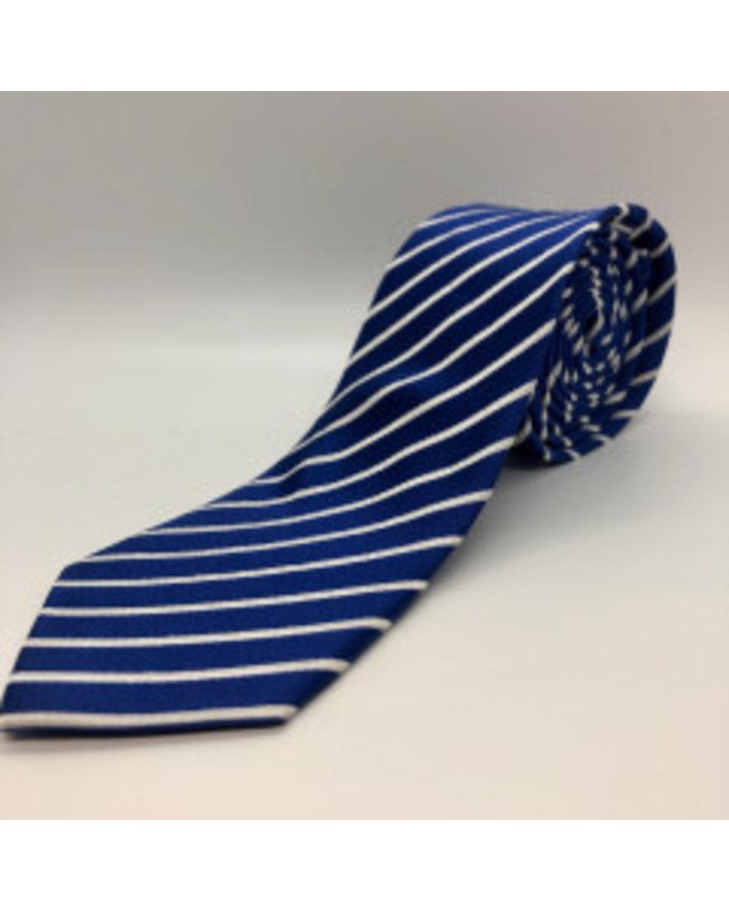 Satin White Stripe Tie Blue