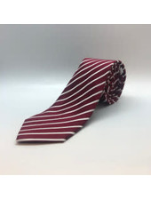 Satin White Stripe Tie Burgundy