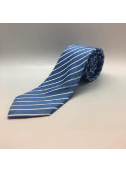Satin White Stripe Tie Lt. Blue