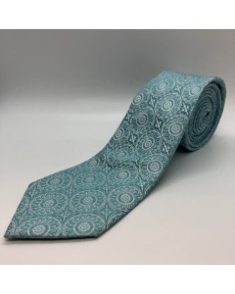 Tonal Daisies Tie Turquoise