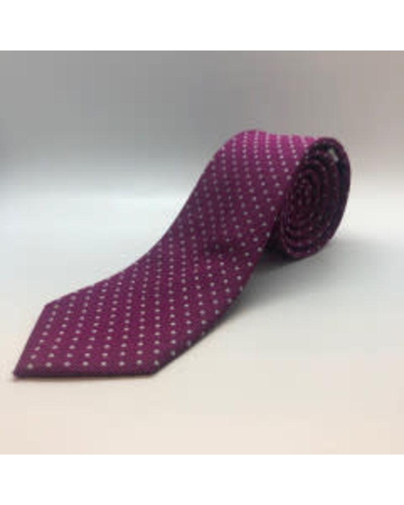 White Mini Dot Tie Magenta