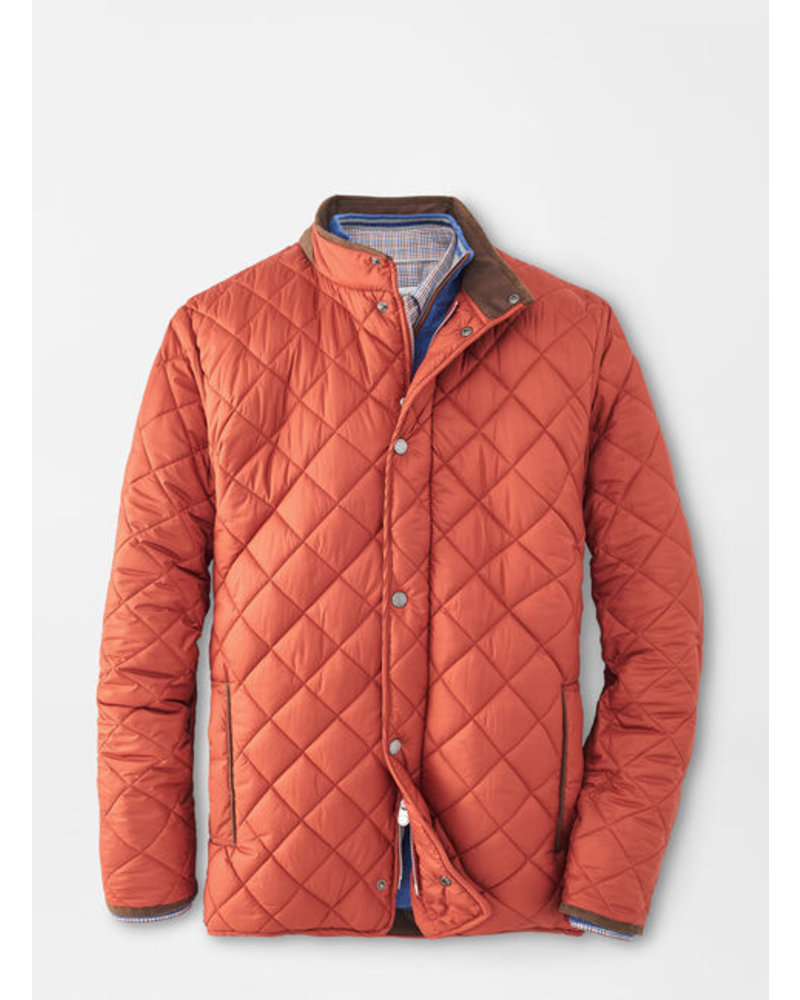 Peter Millar Suffolk Quilted Travel Coat Burnt Orange