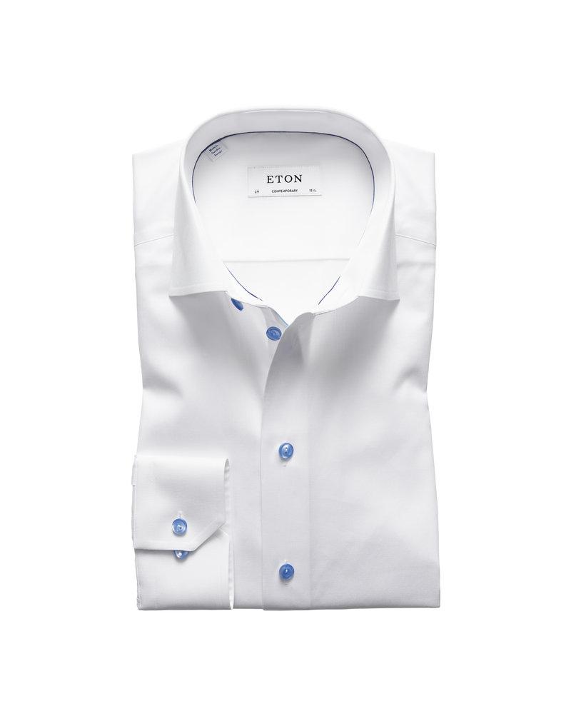 ETON White Twill Shirt - Blue Details