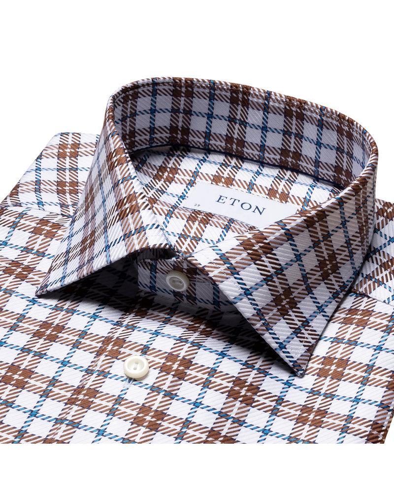 ETON Brown Checked King Twill Shirt