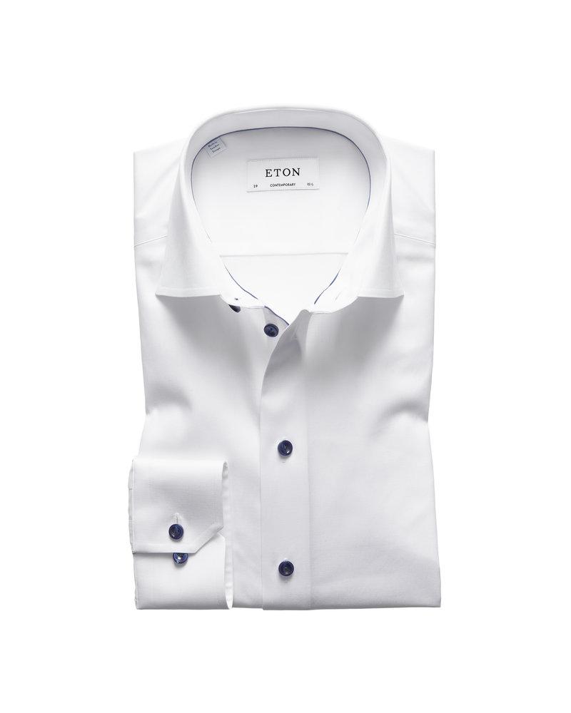 ETON White Twill Shirt - Dark Blue Details