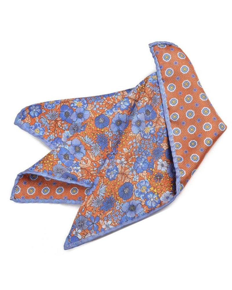 Dion Dion Double Printed Panama Reversible Pocket Square