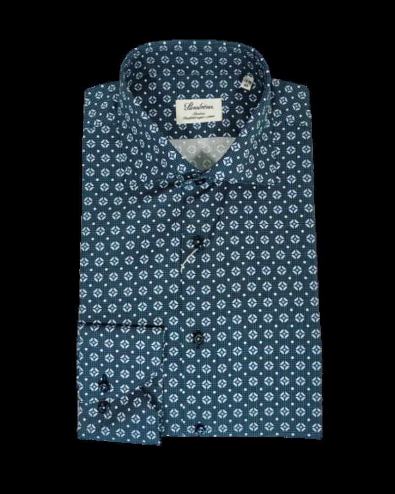 Stenstroms Stenstroms Blue Patterned Slimline Shirt