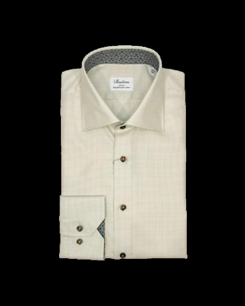 Stenstroms Stenstroms Taupe Slimline Shirt w. Contrast