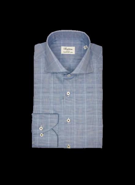 Stenstroms Blue Checked Slimline Shirt