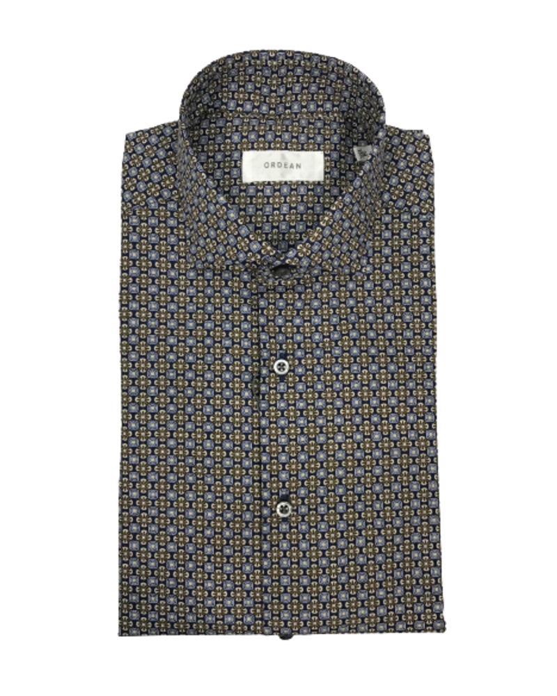 Ordean Brown Medallion Print Shirt