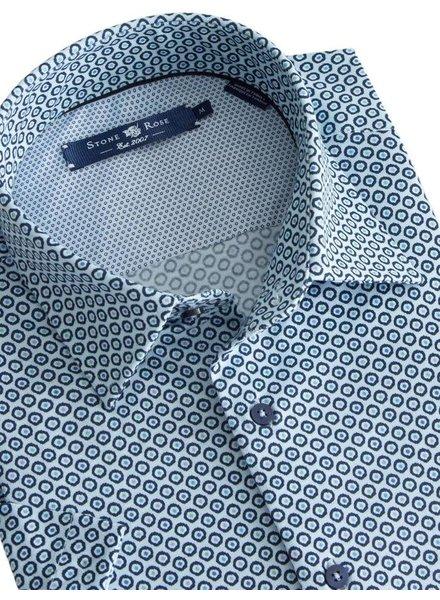 Stone Rose Blue Geometric Knit Short Sleeve Shirt