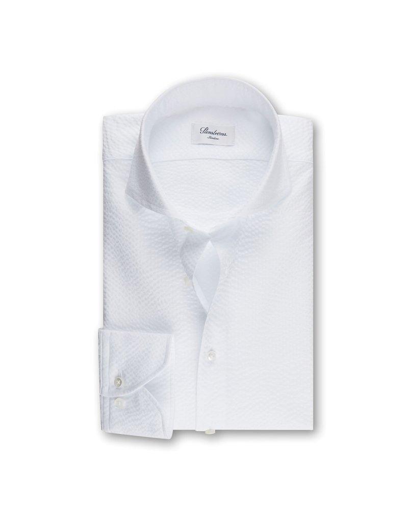Stenstroms Stenstroms Extra Fine Seersucker Slimline Shirt White