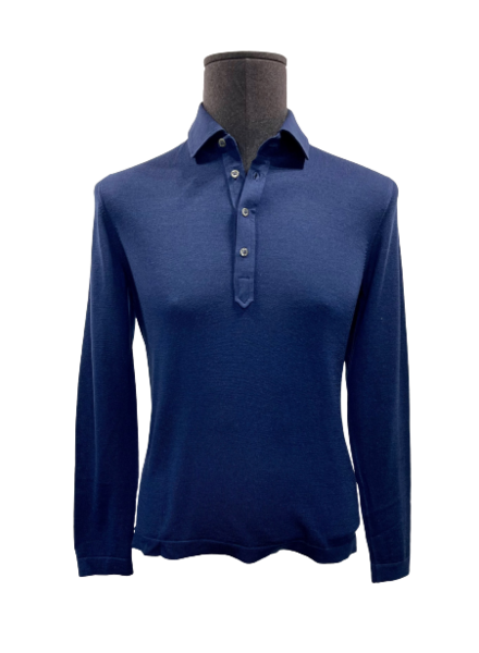 Gran Sasso Knitted LS Polo Travel Wool