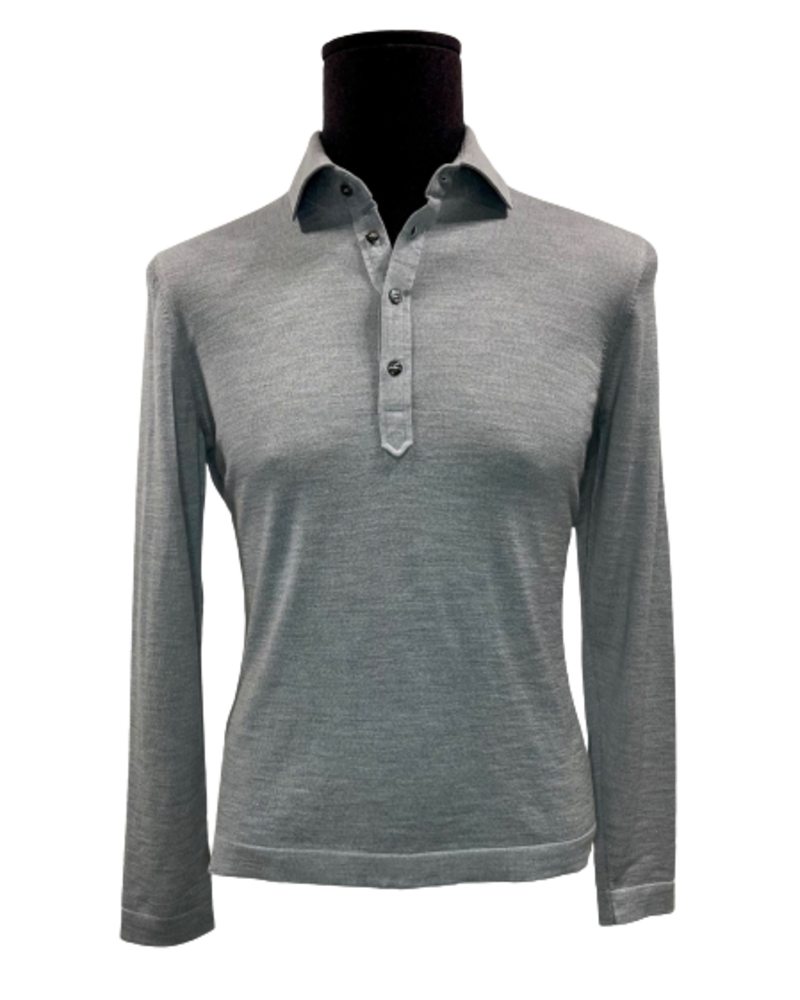 Gran Sasso Gran Sasso Knitted LS Polo Travel Wool