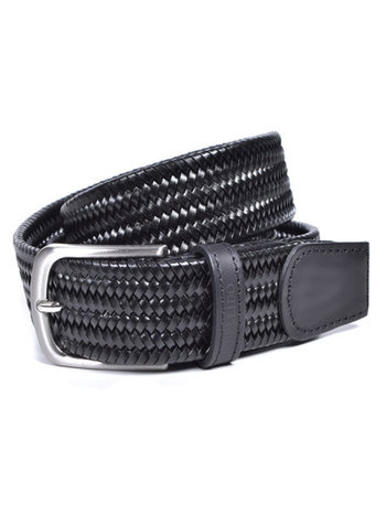 Miguel Bellido Men's Solid Braided Leather Belt