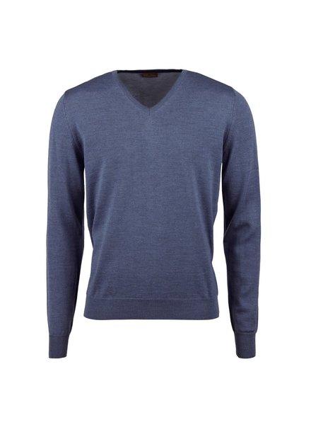 Stenstroms Merino V-neck Sweater With Elbow Patch