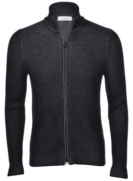 Gran Sasso Bicolor Ribbed Full Zip Sweater