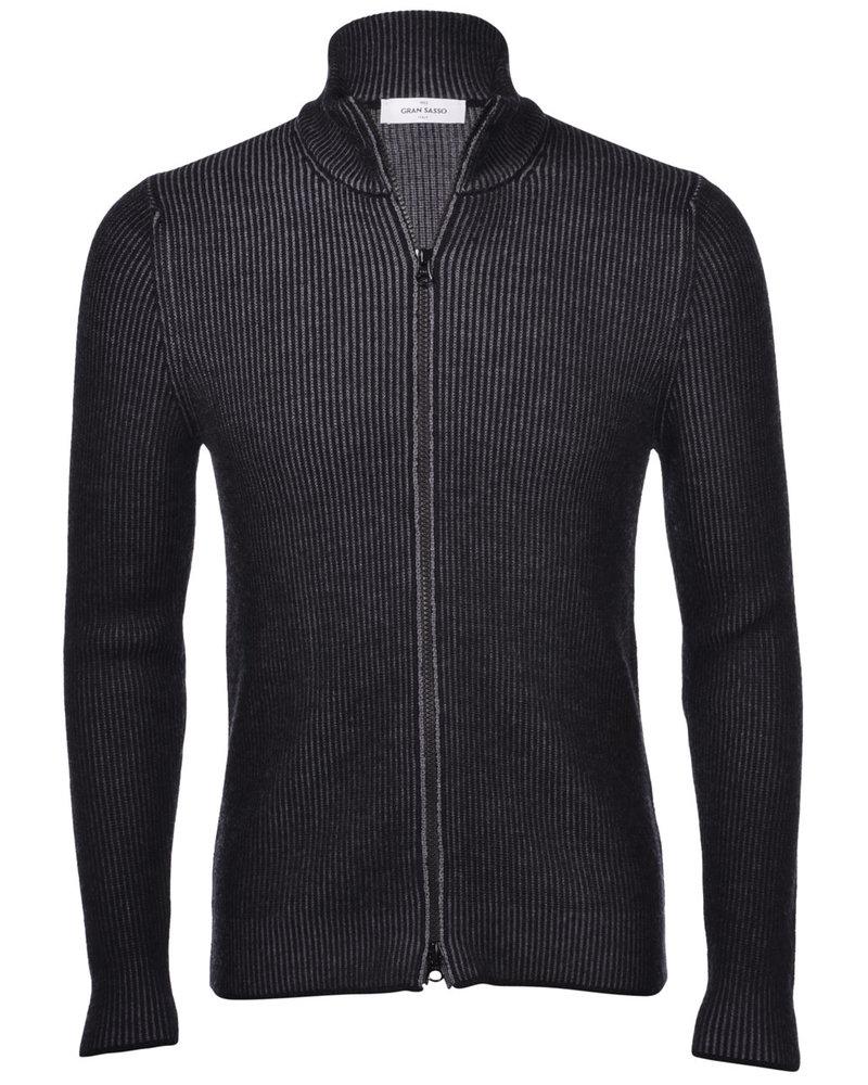 Gran Sasso Gran Sasso Bicolor Ribbed Full Zip Sweater