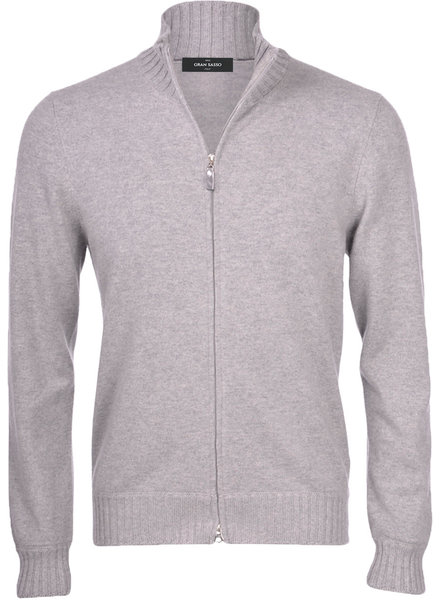 Gran Sasso Ribbed Edge Full Zip Sweater