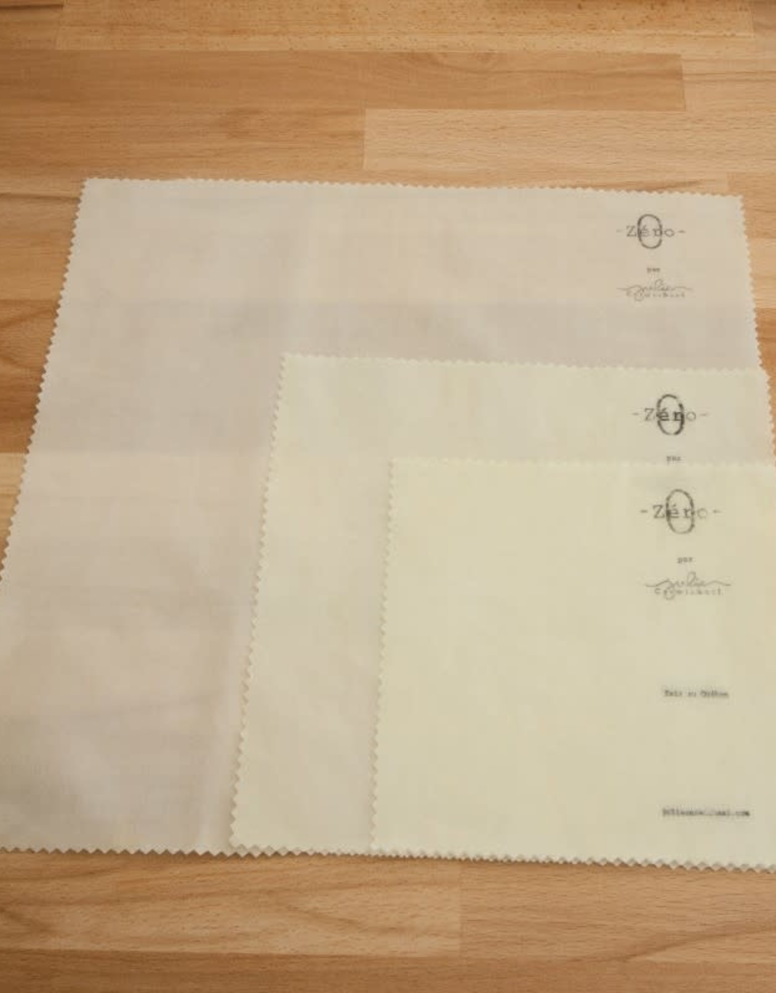 Julie Carmichael Textiles Pqt 3 Emballages coton-cire Bio Collection Zero Julie Carmichael