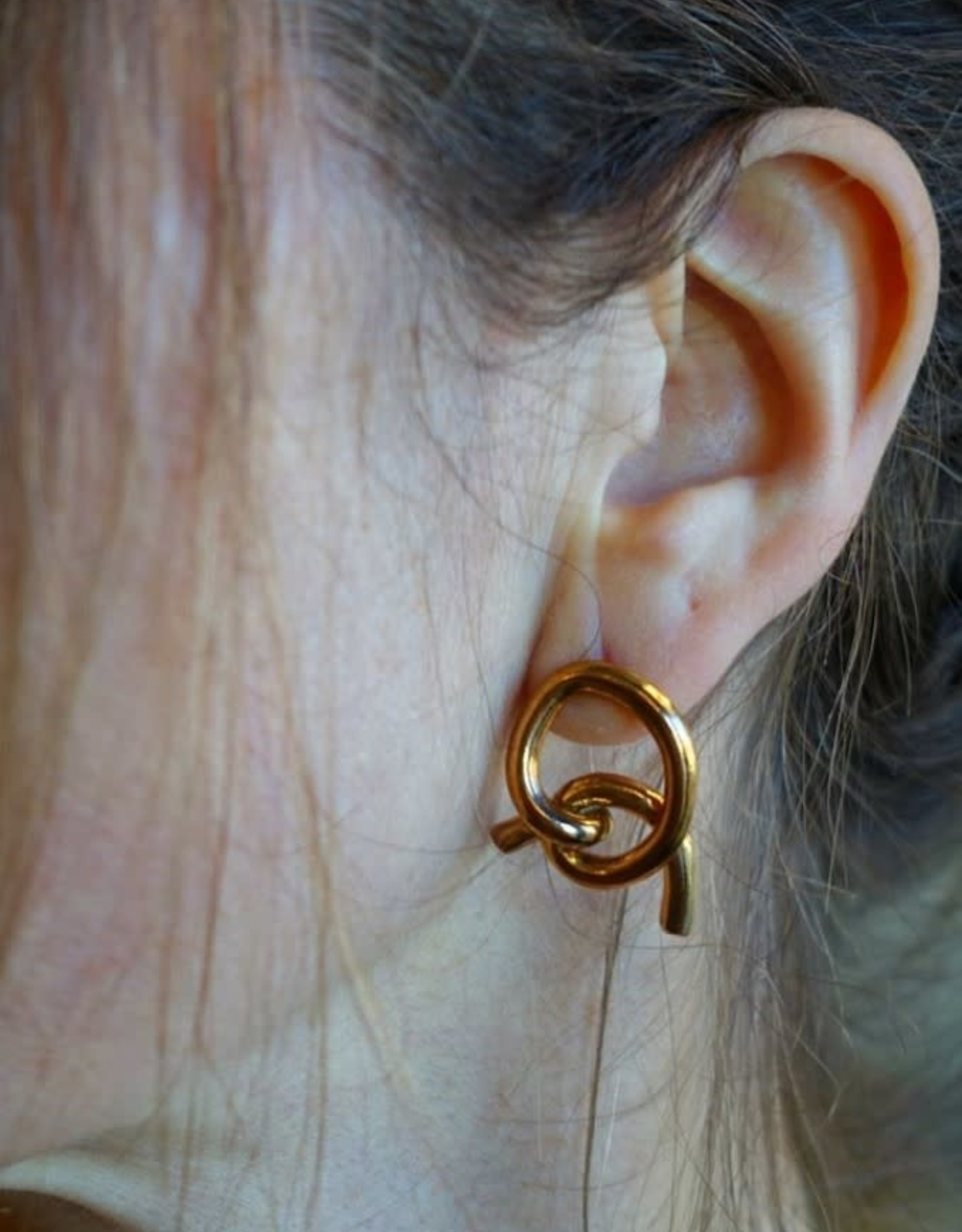 Marmod8 Boucles d'oreilles Mismatched Knots Bronze + Argent Marmod8