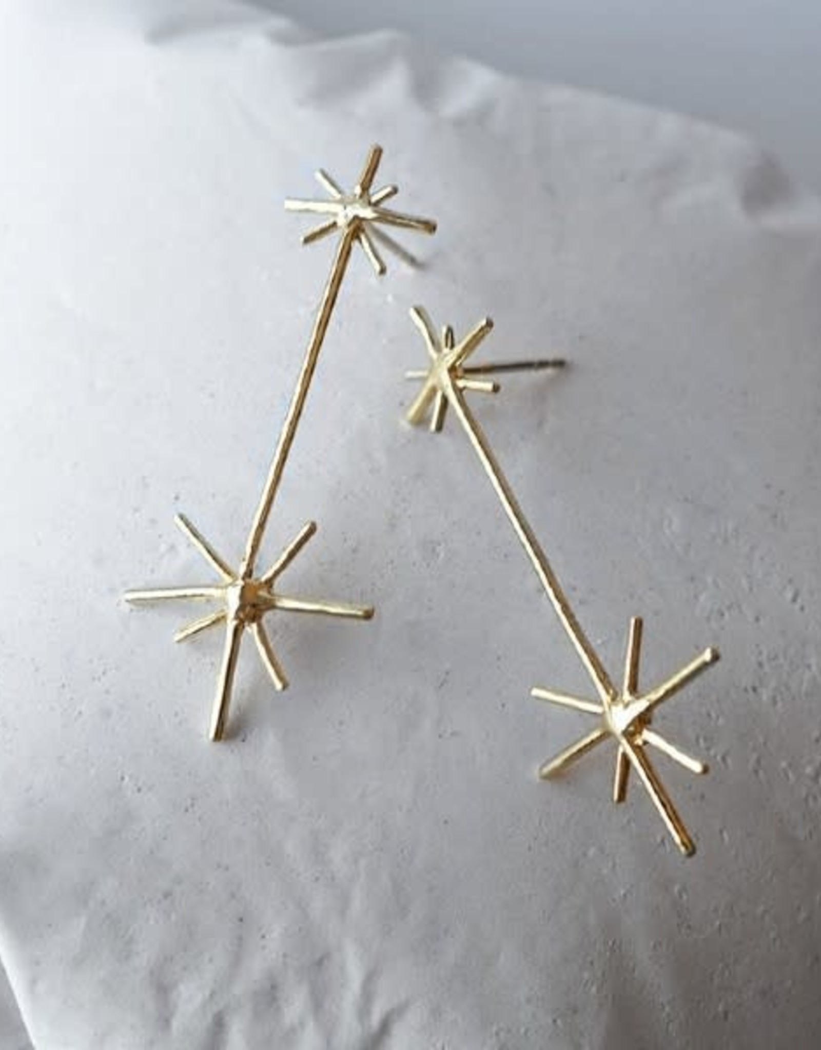 Marmod8 Boucles d'oreilles Double Stars Gold Plating Marmod8