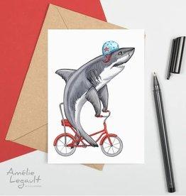 Amelie Legault Carte Amelie Legault Requin blanc à vélo