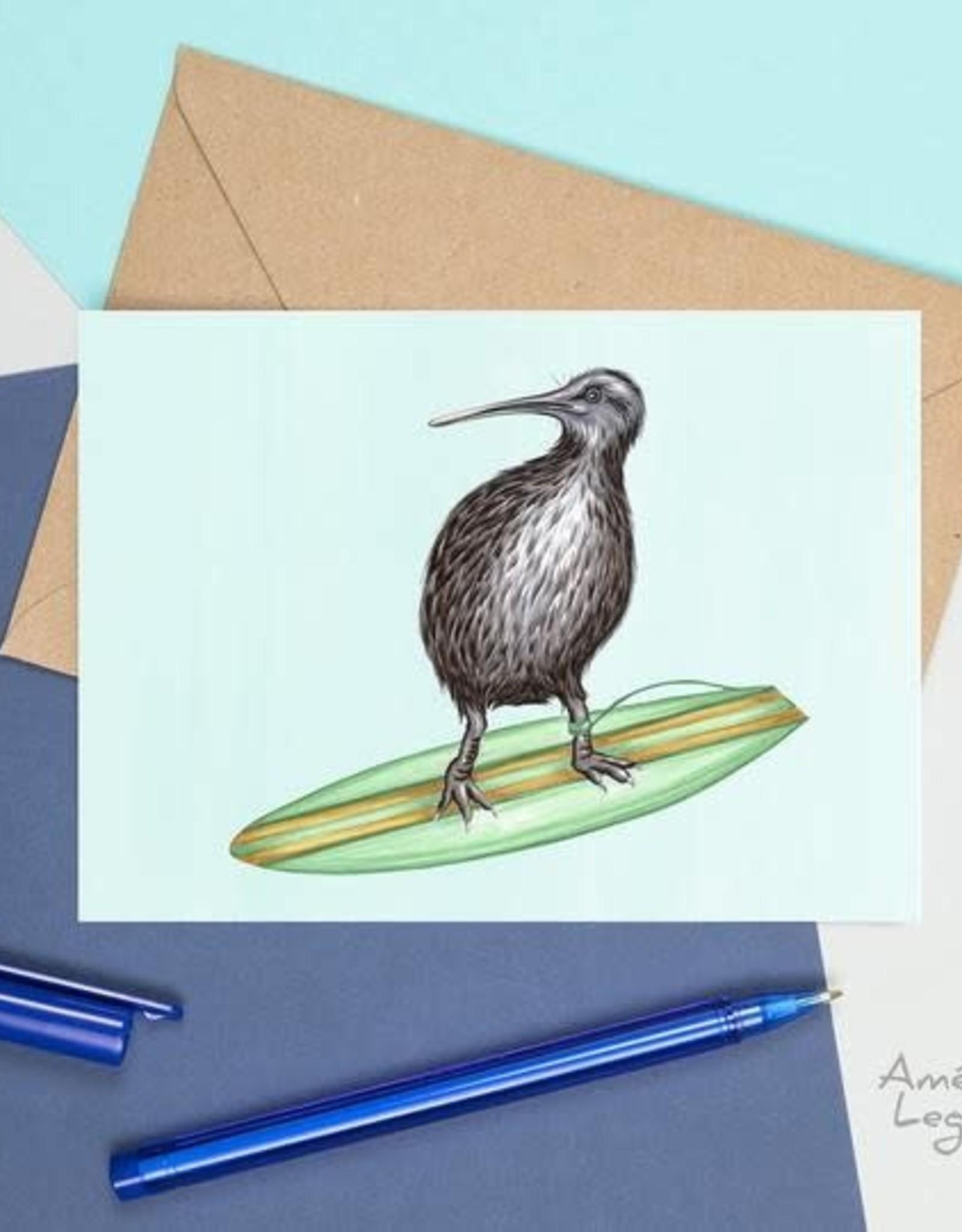 Amelie Legault Carte Amelie Legault Kiwi qui surf