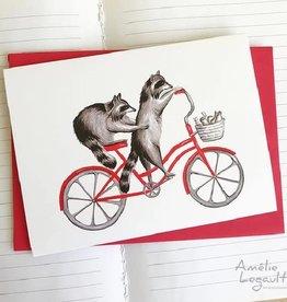 Amelie Legault Carte Amelie Legault Ratons laveurs à vélo