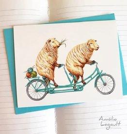 Amelie Legault Carte Amelie Legault Moutons en vélo tandem