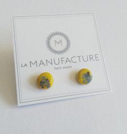 La Manufacture Boucles d'oreilles Verre La Manufacture Studs Jaune