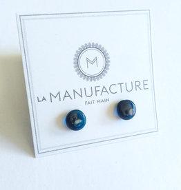 La Manufacture Boucles d'oreilles Verre La Manufacture Studs Bleu Translucide