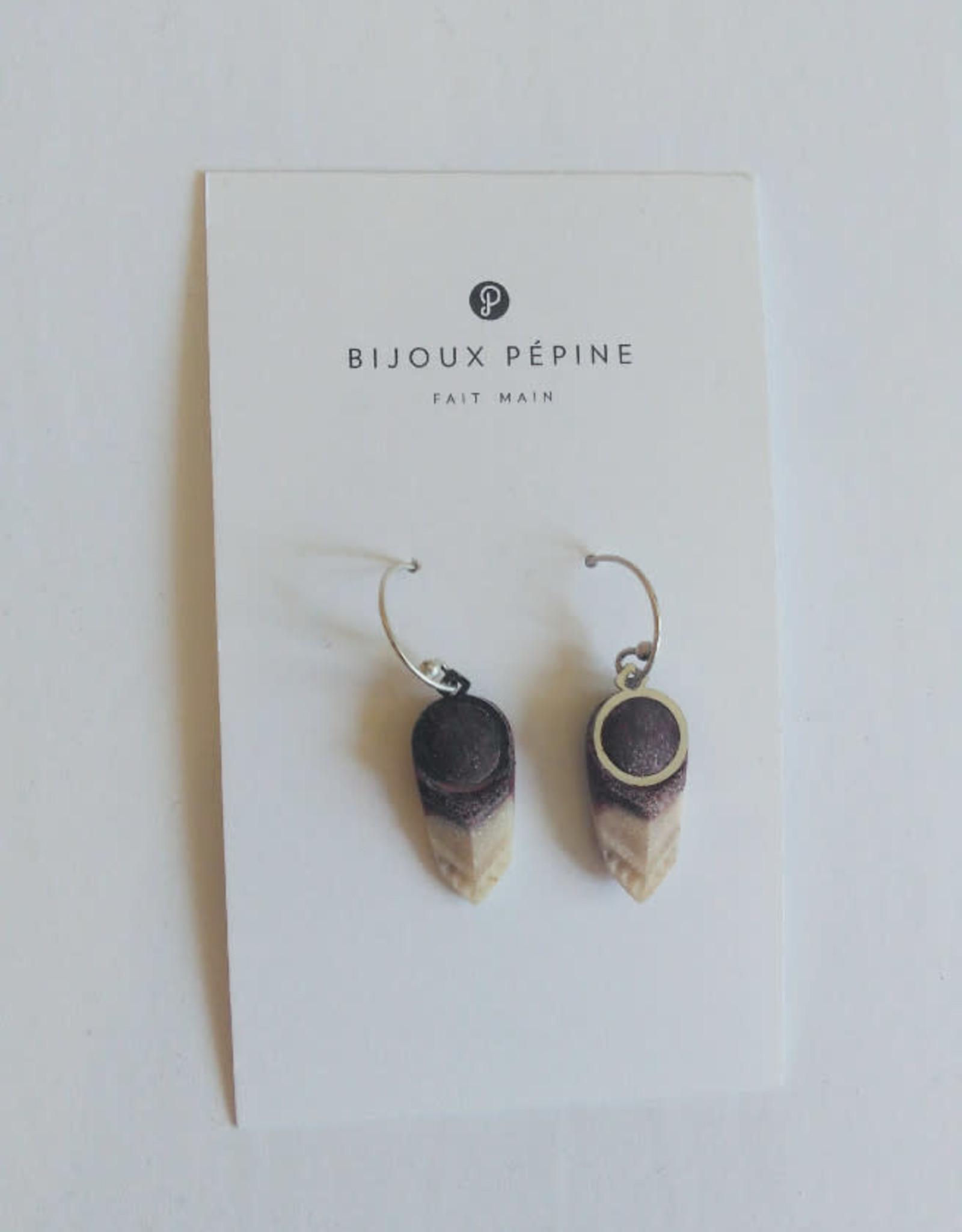 Bijoux Pepine Boucles d'oreilles Panache Bijoux Pépine Bordeaux Marbré