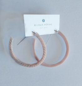Bijoux Pepine Boucles d'oreilles Ouroboros Rose pastel Bijoux Pépine