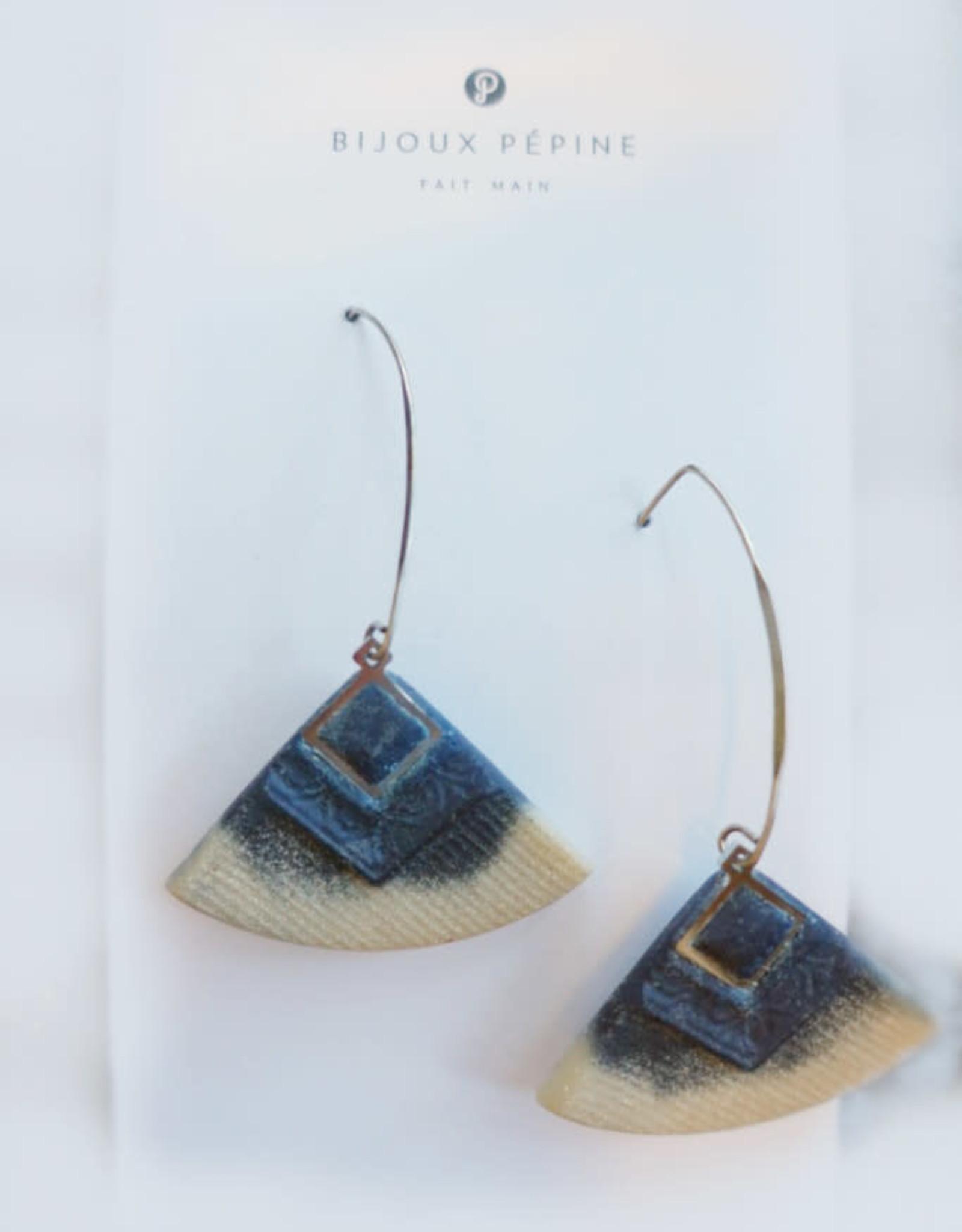 Bijoux Pepine Boucles d'oreilles Cléopâtre Bijoux Pépine Bleu Marine/ Beige