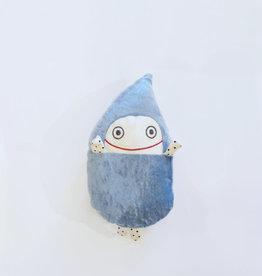 Raplapla Pleuviotte Raplapla Velours bleu avec les yeux ouverts