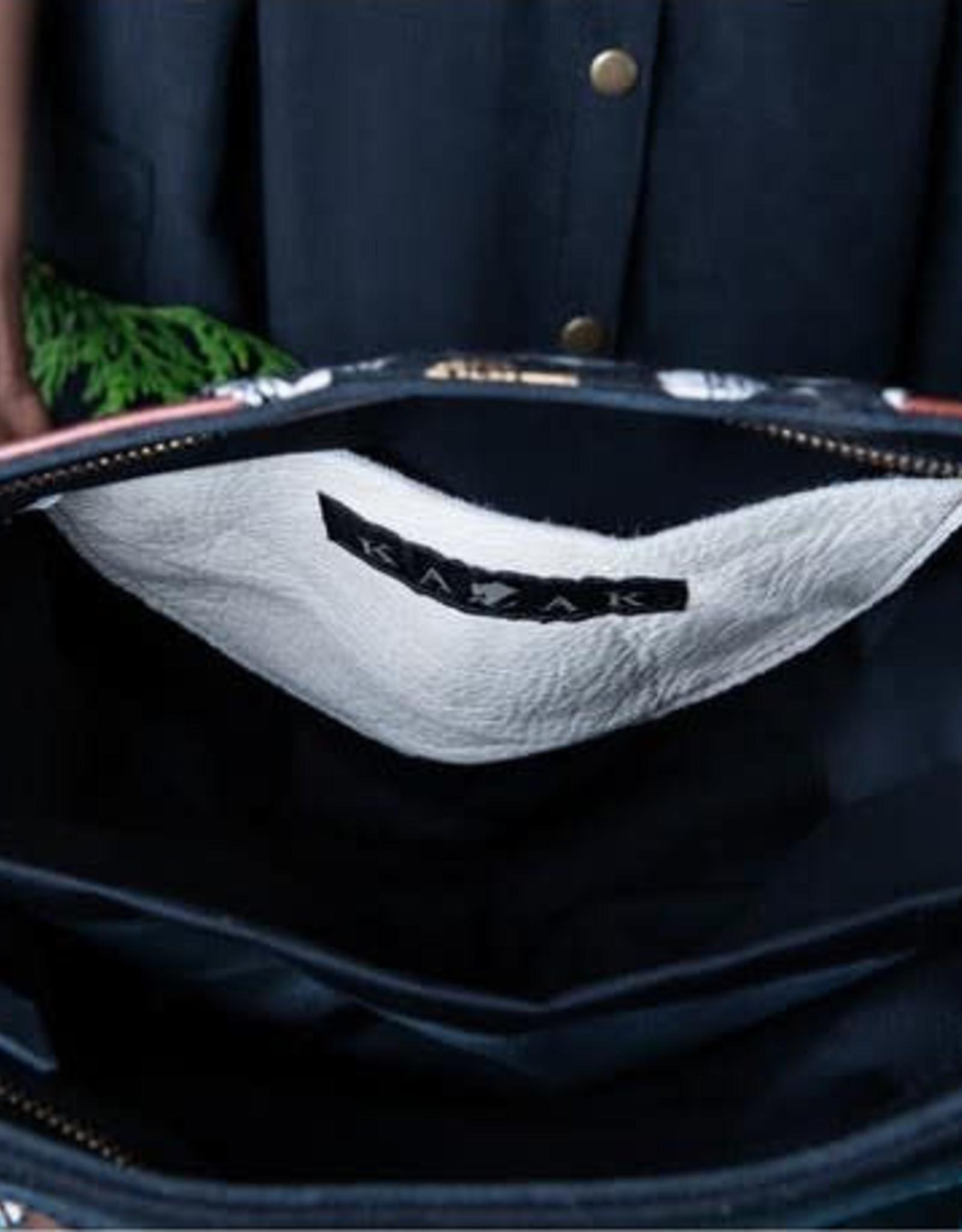 Kazak Sac Yupik Kazak Tissu Bogolan terracotta/ Cuir noir