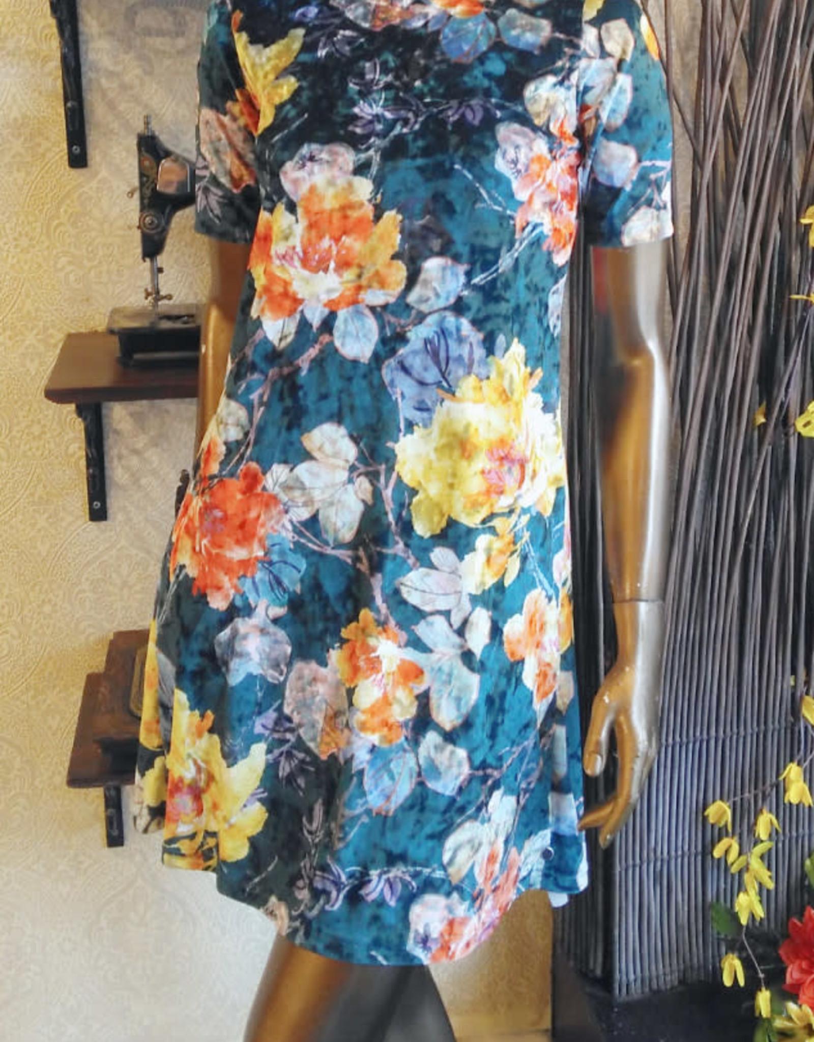 Les Coureurs de Jupons Robe Tamarka AH1920 Les Coureurs de Jupons Kimono Velvet Sarcelle Fleuri