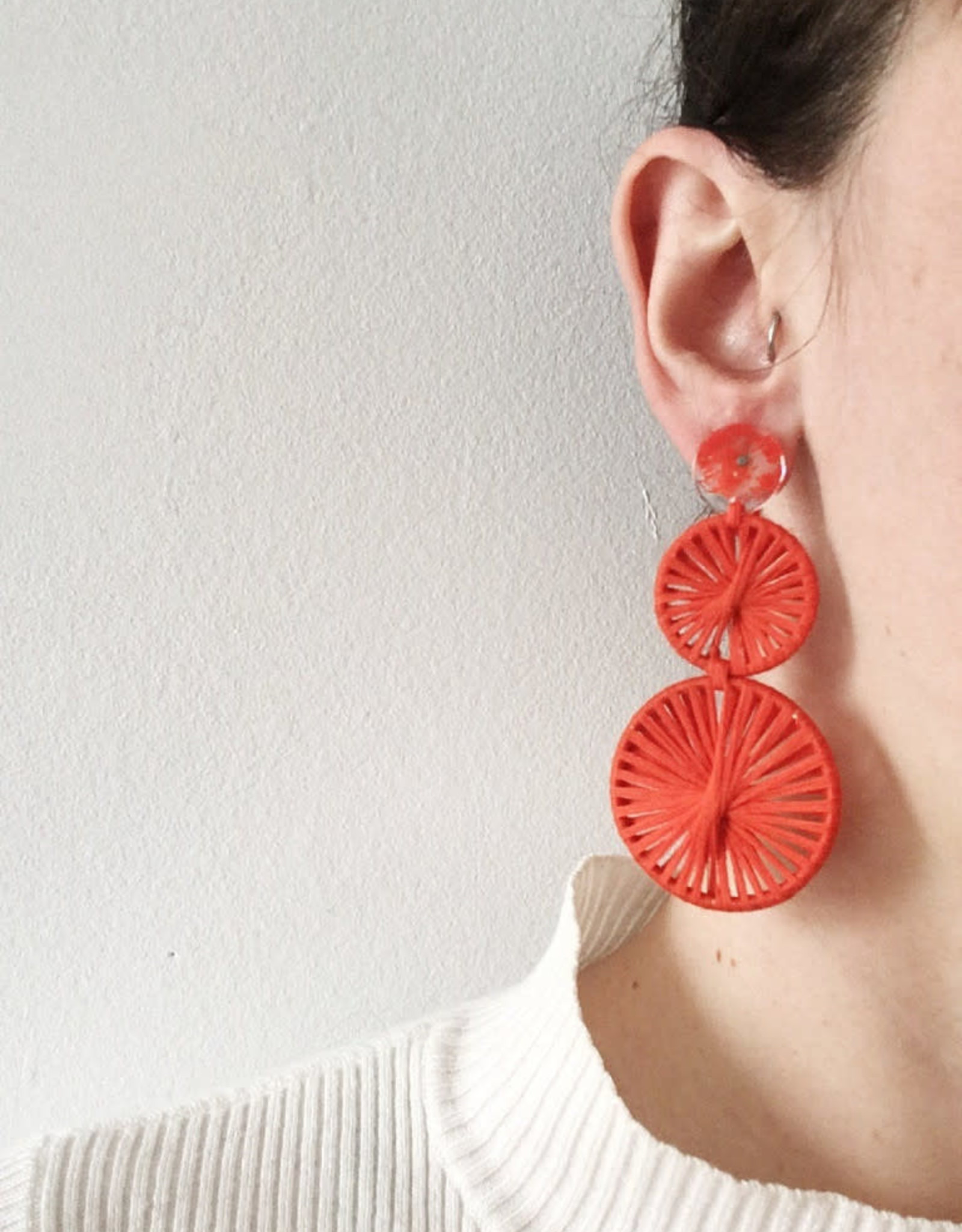 CartoucheMTL Boucles d'oreilles Raphaelle CartoucheMTL Rouge-Orange
