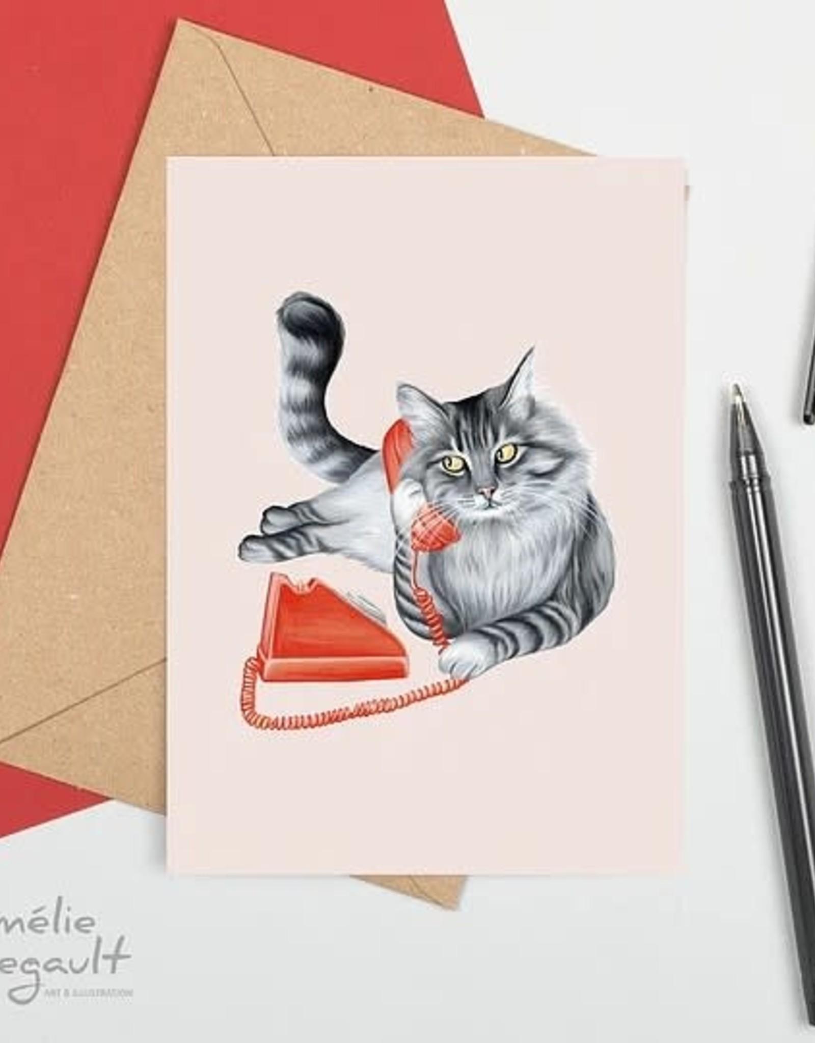 Amelie Legault Carte Amélie Legault Chat au téléphone