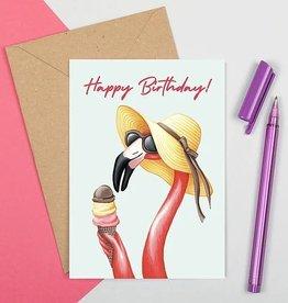 Amelie Legault Carte Amélie Legault Lady flamant rose Happy Bday