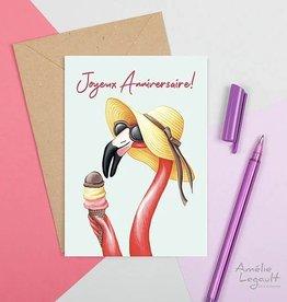 Amelie Legault Carte Amélie Legault Lady flamant rose Joyeux Anniversaire