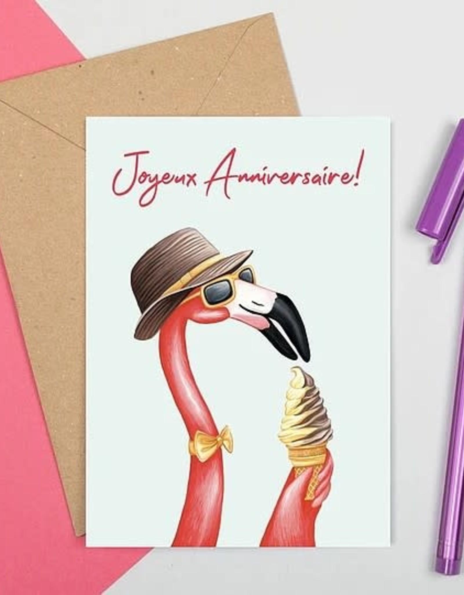 Carte Amelie Legault Gentleman Flamant Rose Joyeux Anniversaire Les Coureurs De Jupons