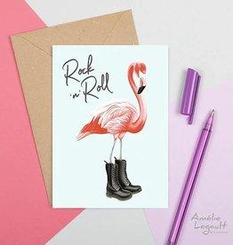 Amelie Legault Carte Amélie Legault Flamant rose Rock n roll